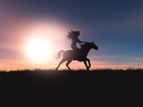 3D female riding her horse in a sunset landscape - 221627187