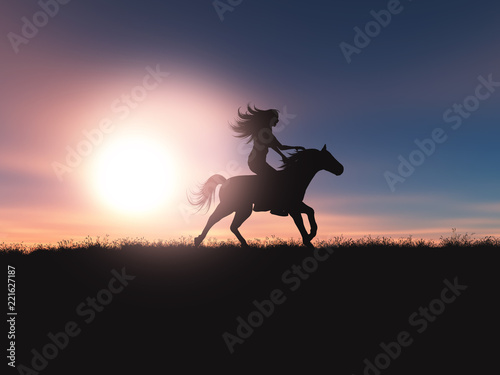 Leinwanddruck Bild 3D female riding her horse in a sunset landscape