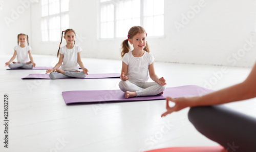 practicing engaged in gymnastics and yoga with  teacher - 221632739
