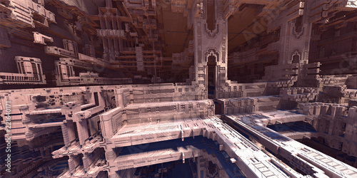 science fiction, sci-fi city, 3D fractal art. - 221640171