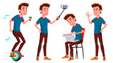 Teen Boy Poses Set Vector. Funny, Friendship. For Advertisement, Greeting, Announcement Design. Isolated Cartoon Illustration