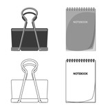 Vector design of office and supply logo. Set of office and school vector icon for stock. - 221660114