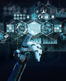 White cyborg hand using digital datas interface 3D rendering - 221660576