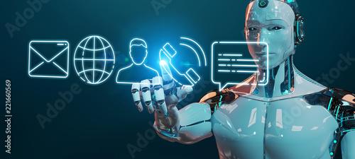 Leinwanddruck Bild White cyborg using thin line contact icon