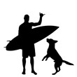 Vector silhouette of man with surf board and his dog on white background.