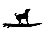 Vector silhouette of dog with surf board on white background. - 221664711