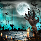 Scary Halloween background with zombie hands. - 221666947