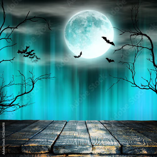 Plakat Spooky Halloween background with old trees silhouettes.