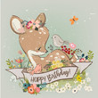 birthday little deer with flowers and birds