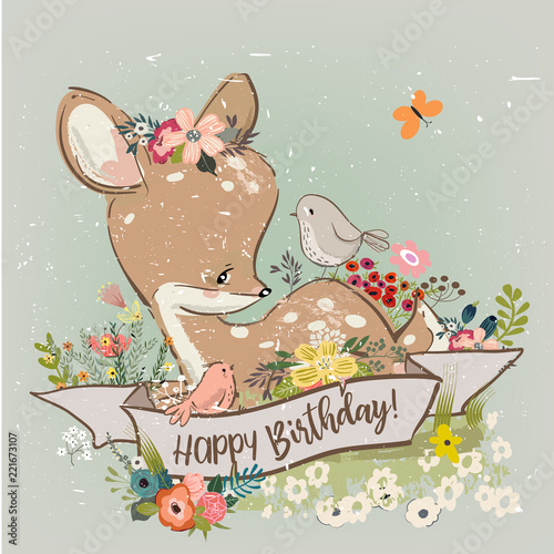 birthday little deer with flowers and birds - 221673107