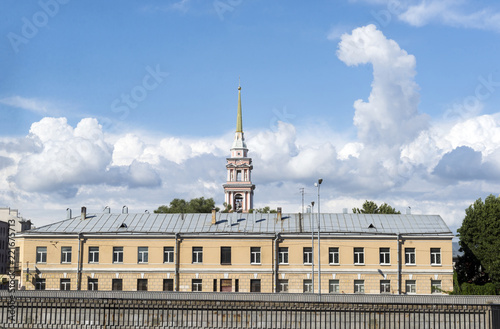 view of the building in St. Petersburg, the sky with clouds, the old building with Windows - 221675713