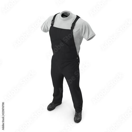 Mężczyzna pracy nosić czarny mundur na białym tle
