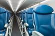 Empty seats in economy class airplane
