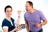 man test the good food of his wife - 221687735