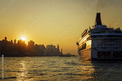 Sonnenuntergang von Kowloon betrachtet mit Blick auf Hongkong Island