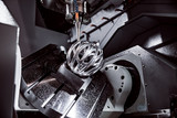 Metalworking CNC milling machine. Cutting metal modern processing technology. - 221690928