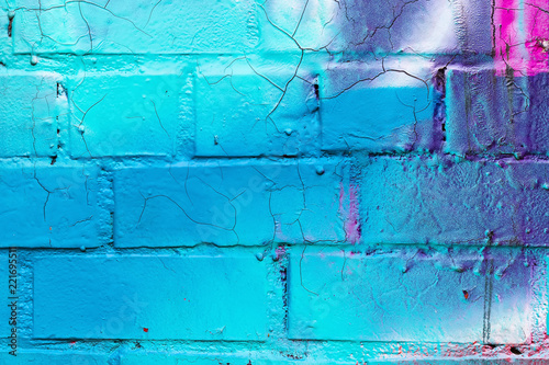 Graffiti painted on a brick wall texture. - 221695511