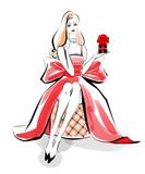 バレンタインデーの贈り物 赤ドレス - 221699576