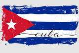 Cuba flag painted grunge handwritten text lettering vector. There are true colors of the flag