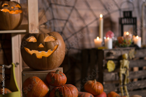 Pumpkin and candy of Halloween - 221702714