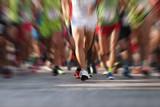 Marathon running race people feet on city road,abstract - 221708788