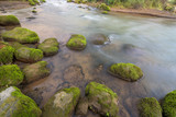 Clear rapid river flowing among mossy rocks - 221709961