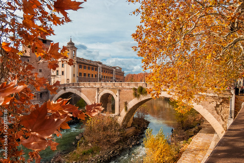 Leinwandbild Motiv Autumn and foliage in Rome. Red and yellow leaves near Tiber Island with ancient roman bridge, in the city historic center
