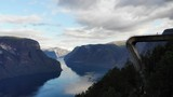 Aerial view. Aurlandsfjord landscape from Stegastein viewing point, early morning. Norway Scandinavia. National tourist route Aurlandsfjellet - 221713903