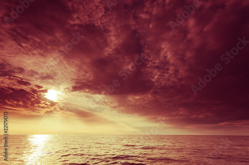 Poster Baltic sea sunset horizon and cloudy sky