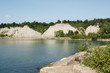 View of t The Scarborough Bluffs (The Bluffs) and Lake Ontario on a sunny summer day.