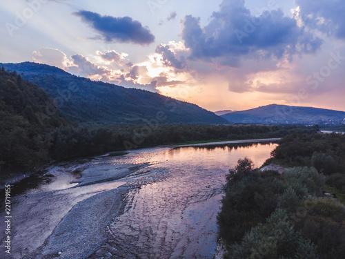 sunset over carpathian mountains