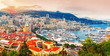 Leinwanddruck Bild - Principality of Monaco. Picturesque panoramic view on Monaco on sunset hour. View on apartment building, casino, port with luxury yachts. Monaco is popular travel destination for gambling.