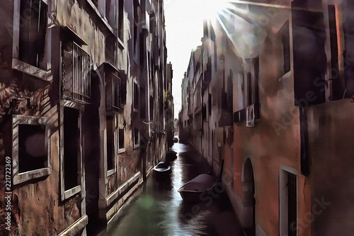 Hand drawing watercolor art on canvas. Artistic big print. Original modern painting for sale. Acrylic dry brush background. Beautiful autumn city landscape. Italy Venice view. Historical Europe © Pavel
