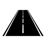 Simple black vector way road asphalt icon isolated on white background - 221727109
