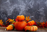 Autumn harvest of raw pumpkins on wooden table