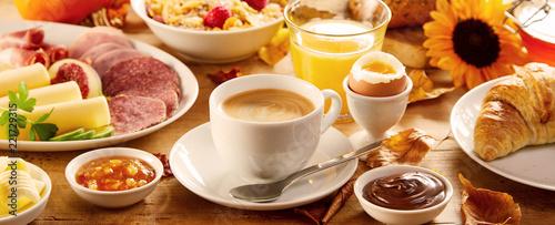 Leinwandbild Motiv Healthy autumn breakfast in a panorama banner