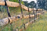 Fence of old planks in the garden in the field - 221734501