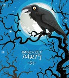 Leaflet invitation to celebrate Halloween black raven sits on a tree branch against the background of the moon - 221741969