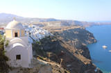 Santorini amazing sight of the town on the slopes of volcanic caldera, Cyclades, Greece, Europe - 221747598