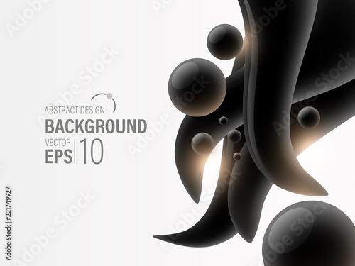 Biały Abstrakcjonistyczny Nowożytny tło Z czarnym ciecza pluśnięciem, tapeta, sztandar, prezentaci tło, wektor, ilustracja