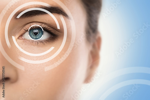 Leinwanddruck Bild Concepts of laser eye surgery or visual acuity check-up