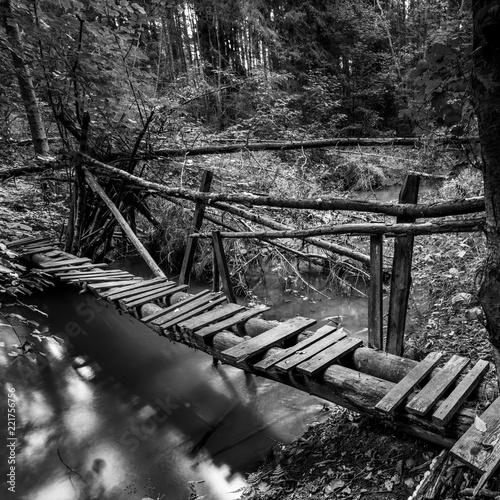 Stara drewniana kładka na leśnej rzece. rezerwat grądy nad Moszczenicą, Szczawin, Zgierz