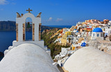 Oia town on Santorini island, Greece. Caldera on Aegean sea - 221757317
