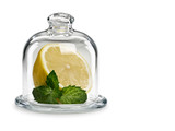 Lemon and mint in glassware under a cover - 221758565