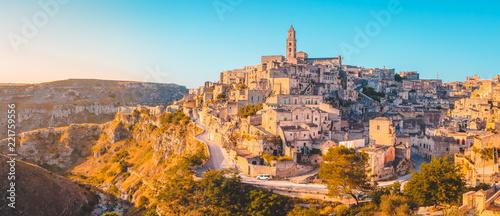 Leinwanddruck Bild Sassi di Matera at sunrise, Basilicata, Italy