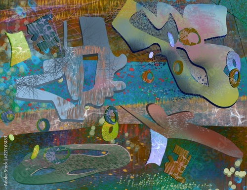 abstract painted cut out layers graffiti modern grunge background