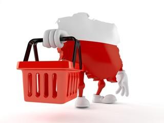 Poland character holding empty shopping basket