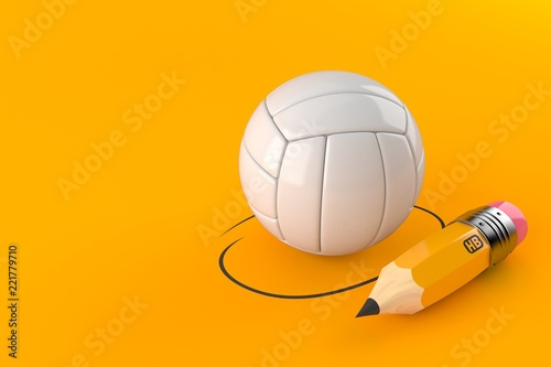 Fototapeta Volleyball with pencil