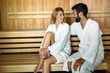canvas print picture - Attractive happy couple relaxing in spa center