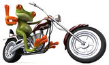 Fun frog on a motorcycle - 3D Illustration - 221782947